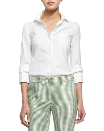 Double-Cuff Button Blouse, Optic White