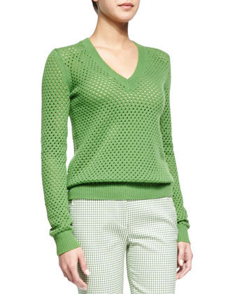 Cashmere-Blend Pointelle V-Neck Sweater & Gingham Check Ankle Pants
