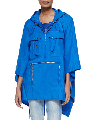Brayden Tech Fabric Packable Poncho, Hydro Blue