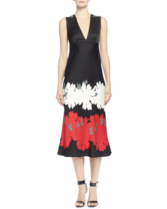 Lotus Flower-Print Satin Midi Dress, Black/Red/White