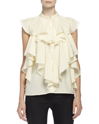 Ruffled Blouse with Mandarin Collar & High-Waist Flare-Leg Pants