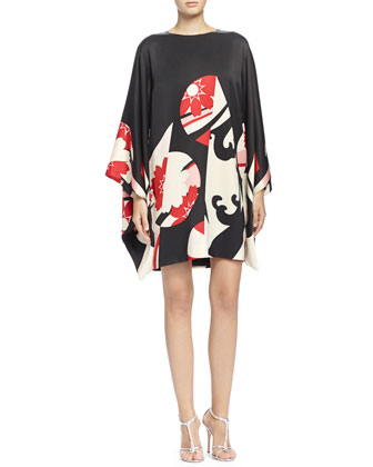 Abstract Floral-Print Kimono-Sleeve Dress,