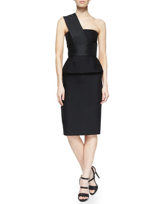 One-Shoulder Jacquard-Contrast Peplum Dress, Black