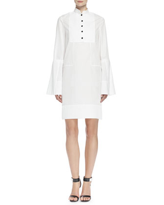 Bib-Front Mandarin-Collar Tunic Dress, White