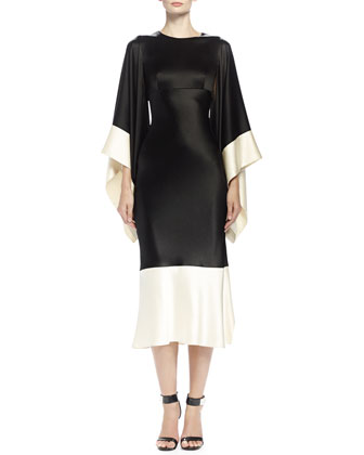 Colorblock Kimono-Sleeve Midi Dress, Black/Bone