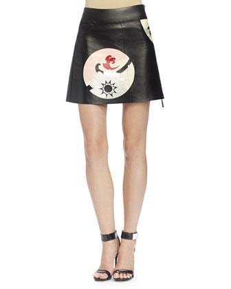 Kansai Engineered Painted Print Leather Skirt