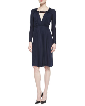 Twisted Knot-Front Draped Dress