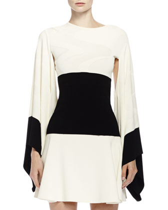 Wave Kimono Top with Contrast Border & Swingy Skirt in Bone Crepe ...