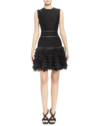 Sleeveless Ruffle-Bottom Mini Dress, Black