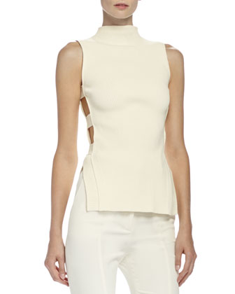 Mock Turtleneck Open-Side Top, Bone