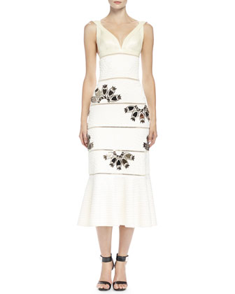 Leather-Contrast Beaded Column Gown, Bone