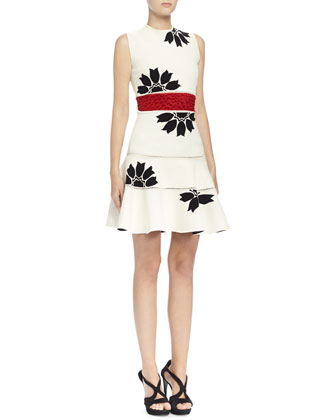 Floral Jacquard Mini Dress, Bone/Black/Red