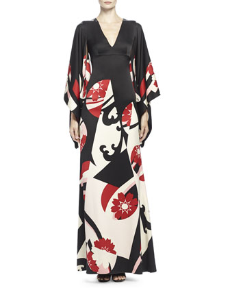 Abstract Floral-Print Kimono Gown, Black Mix