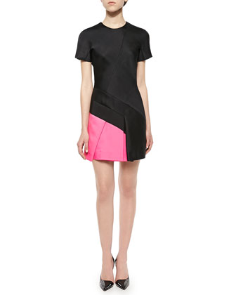 Short-Sleeve Colorblock-Pleat Dress