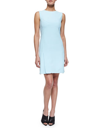 Scuba Crepe Shift Dress, Light Blue