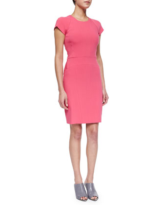 Cutout Paneled Sheath Dress, Bright Pink