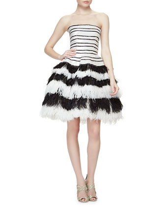 Striped Sequined Feather-Tiered Fit-And-Flare Dress, Black/White