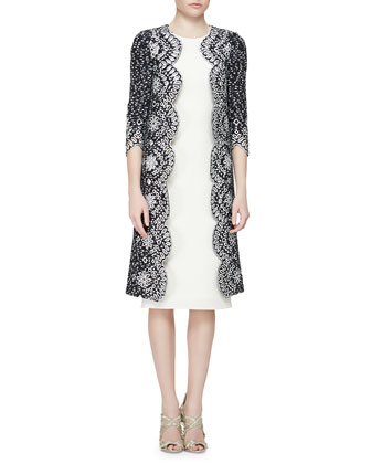 Floral Eyelet Scalloped Tweed Jacket & Woven Silk Pencil Dress