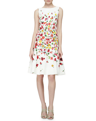 Floral-Print Darted A-Line Dress