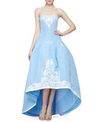 Strapless Filigree-Embroidered High-Low Gown, Wedgewood
