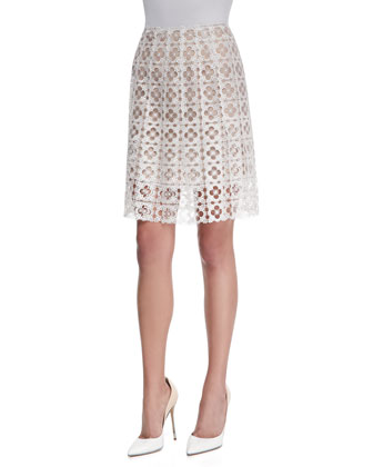 Clover Guipure Lace A-Line Skirt, White