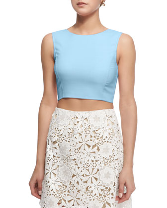 Sleeveless Jewel-Neck Crop Blouse, Wedgewood