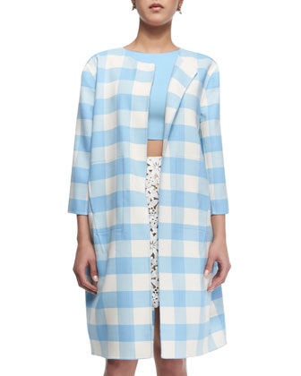 Buffalo Check 3/4-Sleeve Long Coat