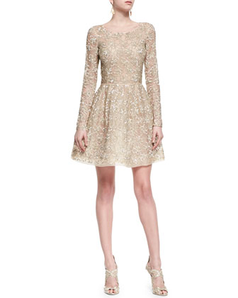 Shimmer-Lace Fit-and-Flare Dress, Nude Gold