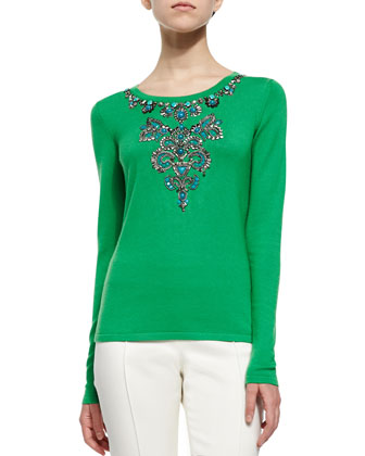 Jewel-Embellished Knit Sweater & Front-Seam Slim Pants