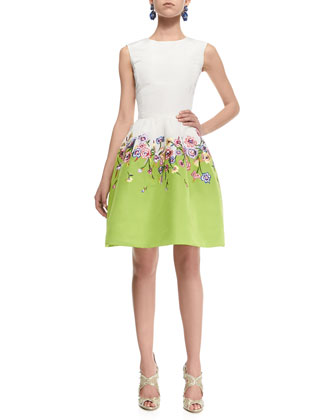 Floral-Skirt Silk Colorblock Dress