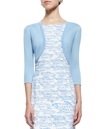 Three-Quarter-Sleeve Knit Bolero & Abstract Fish Printed Pencil Dress, ...