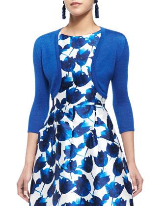 Three-Quarter-Sleeve Knit Bolero & Tulip-Print Dress with Pockets