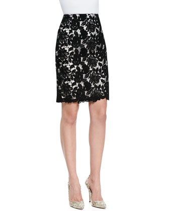 Two-Tone Floral Lace Pencil Skirt, Black/White