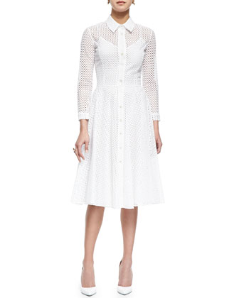 Swiss Allover Eyelet Shirtdress, White