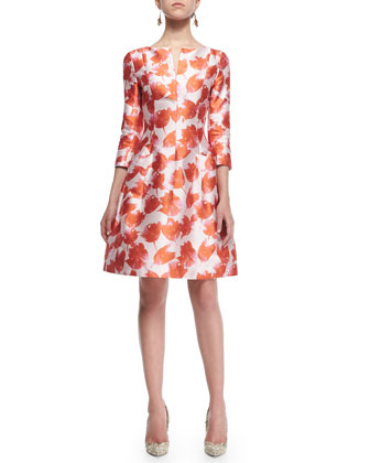 3/4-Sleeve Petal-Print Silk Dress