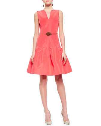 Split-Front Pleated Flounce Dress, Granita