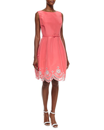 Laser-Cut Eyelet Fit-And-Flare Dress, Granita