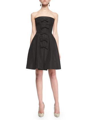 Strapless Bow-Front A-Line Dress, Black