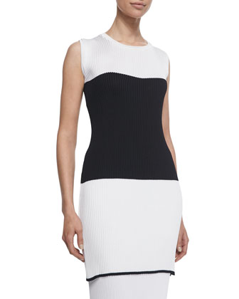 Ribbed Knit Colorblock Tunic, Optic White/Black