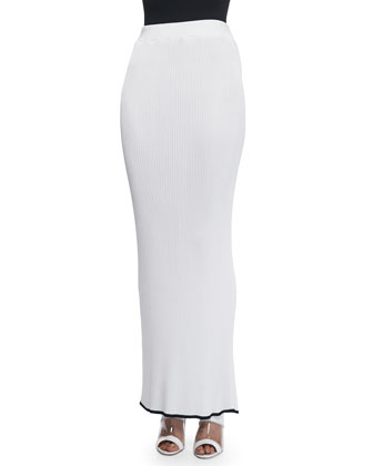 Ribbed Knit Long Skirt, Optic White