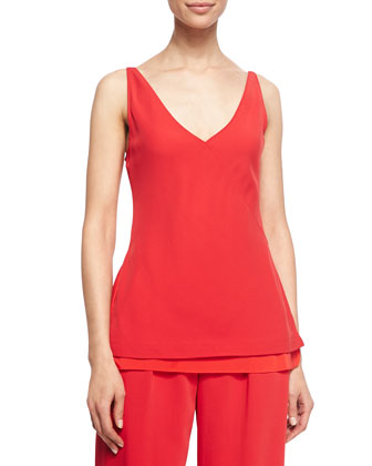 Bias-Cut Layered Camisole, Bright Red