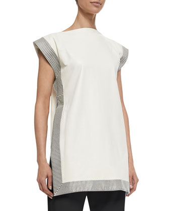 Stripe-Trimmed Leather Tunic, Ivory