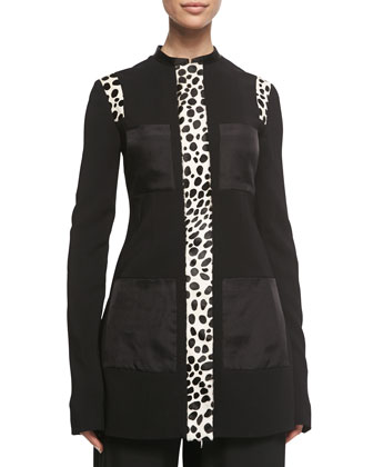 Spotted Calf Hair-Inset Jacket, Black