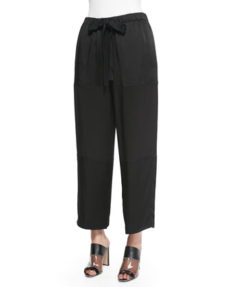Pebble-Crepe Cropped Judo Pants, Black