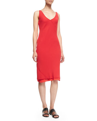 Bias-Cut Layered Slip Dress, Bright Red