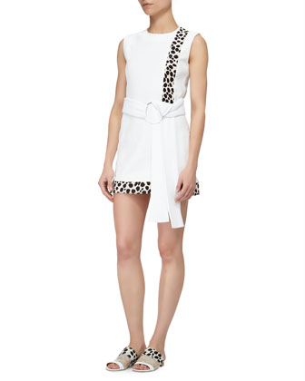 Spotted Calf-Hair Inset Dress, Optic White