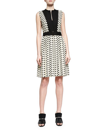 Square-Dotted Fil Coupe Slit Dress, Ecru/Black