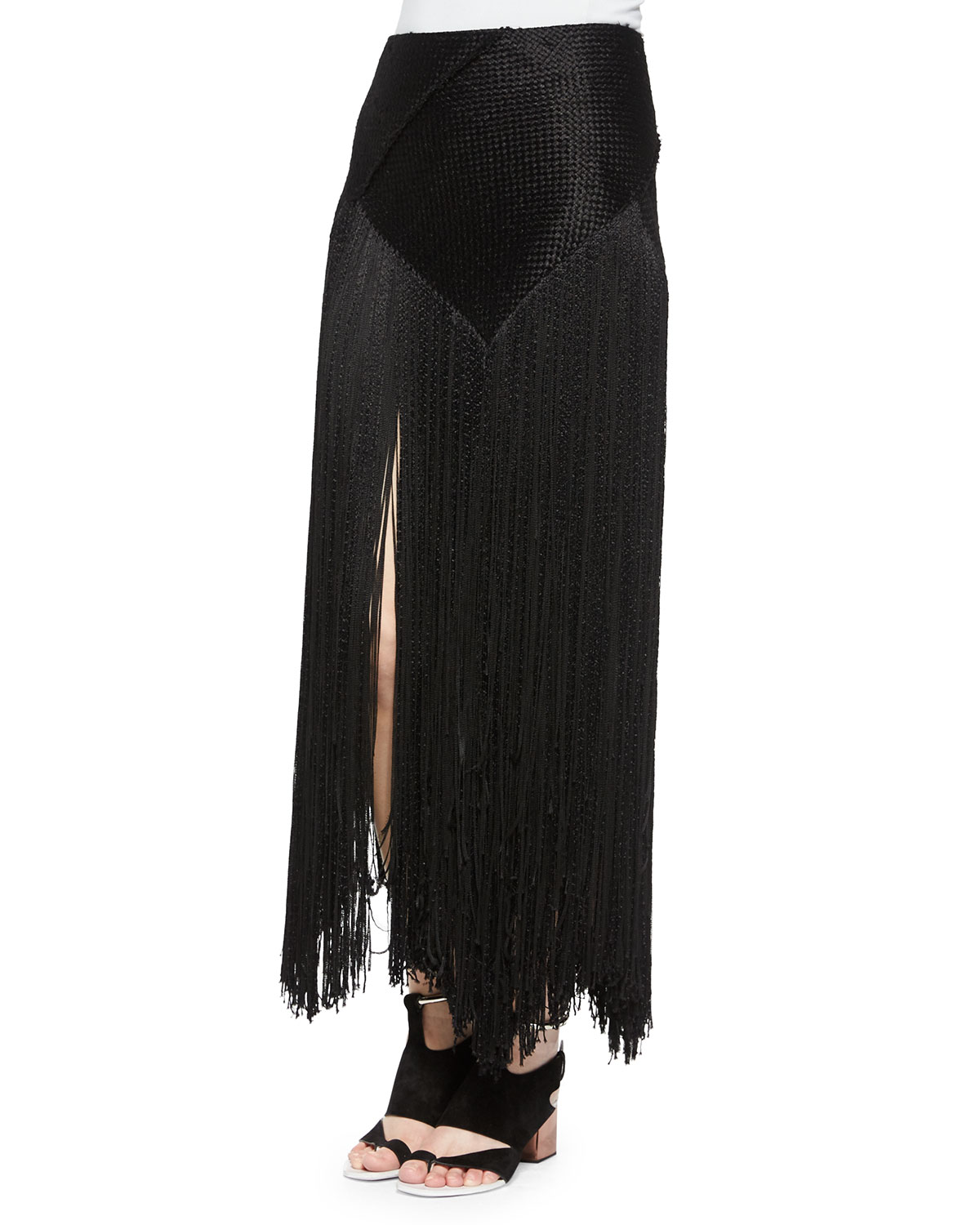 Woven Long Fringe Skirt, Size: 6, Black - Proenza Schouler