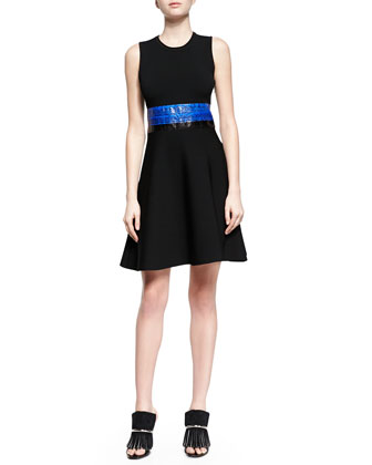 Contrast Whipsnake-Inset Fit-And-Flare Dress, Black Combo