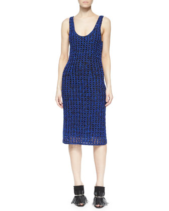 Sleeveless Open Crochet Tank Dress, Cobalt/Black